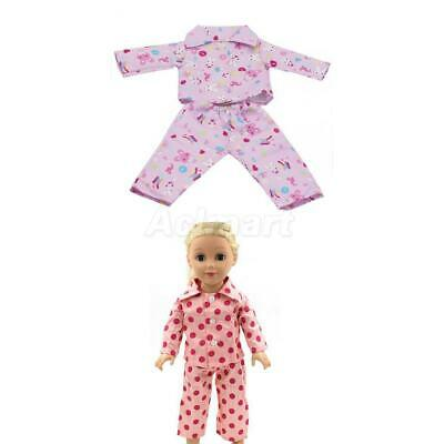2x Set of Pajamas Clothes for 18'' AG American Girl/My Life/Journey/Gotz Dolls