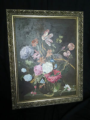 Pretty Original Still Life Of Flowers Oil Painting On Canvas Signed