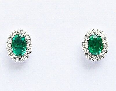 18Carat White Gold Natural Emerald & Diamonds Oval Cluster Earrings 1.00 carats