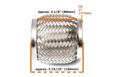 """Universal 3"""" Front Exhaust Flex Pipe Tube 80mm Stainless Steel Mesh 76x100mm_"""
