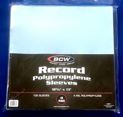"""100 LP Outer Sleeves Heavy 4 MIL Clear Poly Plastic 12"""" Vinyl Record Album Cover"""