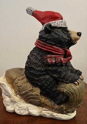 Christmas Black Bear Sleigh Riding A Fish Holiday Decor Figurine