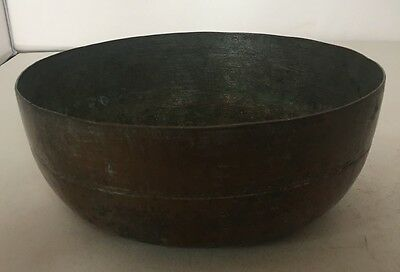 Copper Bowl Middle Eastern Hand Tooled Old Large Antique Artisan Made Handmade