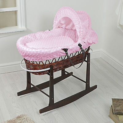 New 4Baby Dark Wicker / Pink Dimple Padded Baby Moses Basket & Rocking Stand