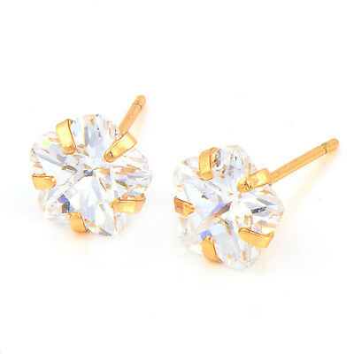 Cute Flower Rose Gold Plated Cubic Zirconia Baby Kids Girls Safety Stud Earrings