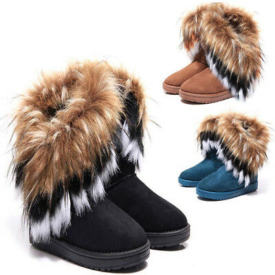 Fashion Women Winter Warm High Ankle Snow Boots Rabbit Fur Suede Tassel Shoes