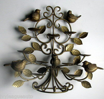 RARE Hollywood Regency Wall Art Candelabra 5 Sconce GOLD LEAF Metal 5 BIRDS 19""