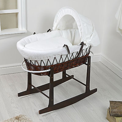 New 4Baby Dark Wicker / White Waffle Padded Baby Moses Basket & Rocking Stand