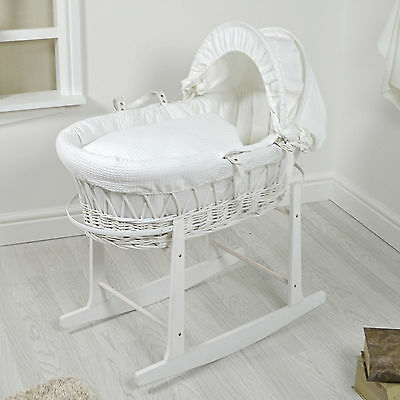 New 4Baby White Wicker / White Waffle Padded Baby Moses Basket & Rocking Stand