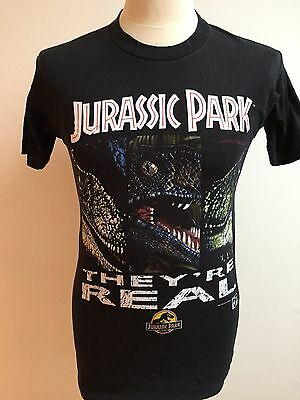 Vintage JURASSIC PARK T Shirt 1993 OFFICIAL Size S Small SPIELBERG