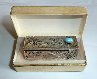 A Vintage Silver Lipstick Holder With Mirror & Turquoise Coloured Stone & Box