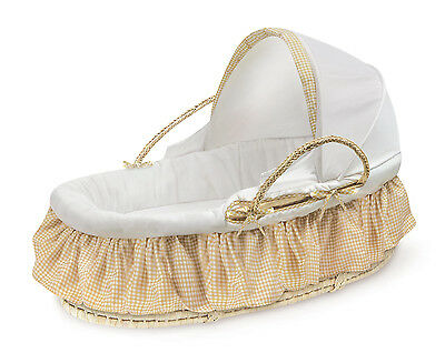 Natural Moses Basket with Canopy and Beige Gingham Bedding