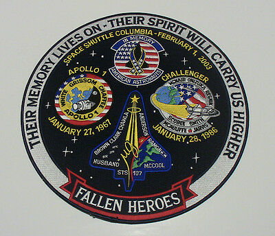 "12"" NASA Challenger, Columbia, Apollo 1 Fallen Heroes Large Back Patch"