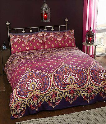 Double Bed Duvet Cover Set Asha Ruby Mauve Lilac Pink Cerise Moroccan Style