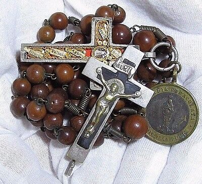 † Dated 1854 Antique Medal & Benedict Multi Saint Theca Relic Crucifix Rosary †