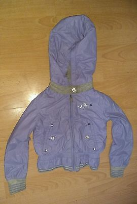 Diesel Designer Girls Lilac Grey Hooded Light Coat Jacket Size Age 2 Years