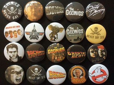 80's Classic Movies Button Badges x 20. Retro. Job lot. Collector. Bargain. :0)