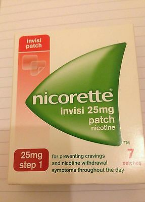 Nicorette Invisi Patch 25mg Nicotine Step 1 New Boxed Stop Smoking Patches