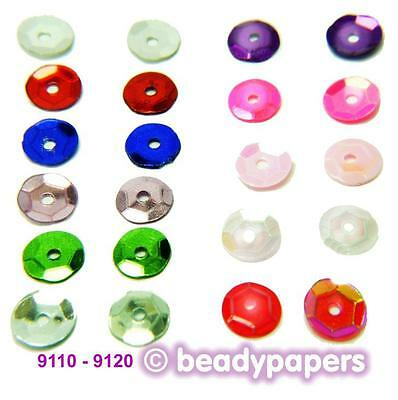Cup Plastic Sequins 6 - 7 mm in 10 Great Colours 50g 30g 15g