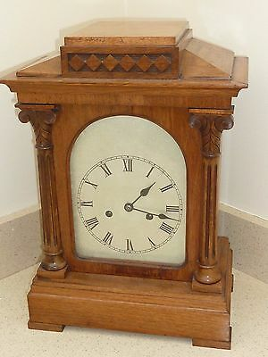 Large Antique Silvered Chased Dial Architectural Style Walnut Bracket Clock
