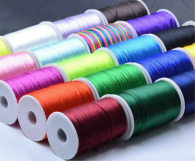 10/100yd Durable Satin Rattail Cord Trim Macrame Beading Nylon Cotton String 2mm