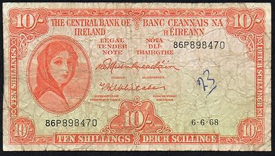 1968 CENTRAL BANK of IRELAND 10/- LADY LAVERY BANKNOTE * 86P * aF *