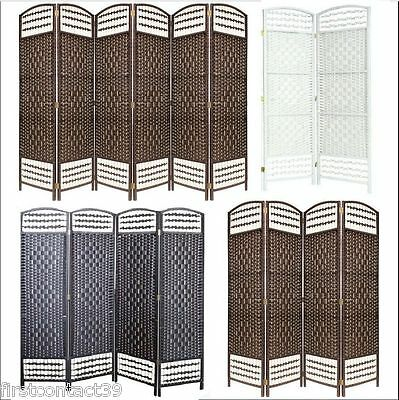 HAND MADE WICKER ROOM DIVIDER/SEPARATOR/PRIVACY SCREEN Black Brown Cream