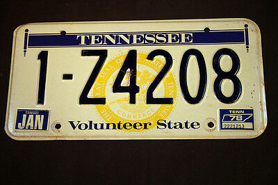 1978 License Plate Auto Tennessee Volunteer State Black on White 1-Z4208