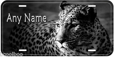 Leopard B&W Novelty Aluminum Any Name Car Auto License Plate