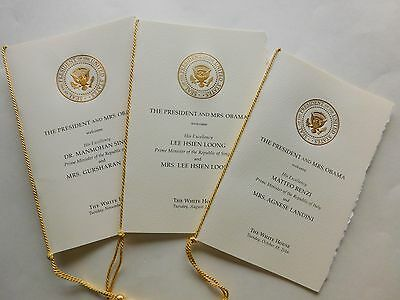 OBAMA White House FOREIGN LEADERS STATE ARRIVAL souvenir PROGRAMS = 3 pieces