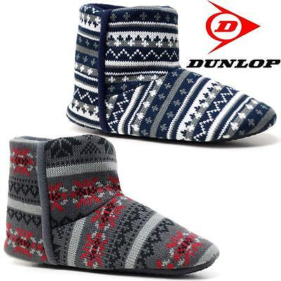 Mens Slippers New Dunlop Ankle Fleece Warm Lined Fairisle Winter Boots Shoes Siz