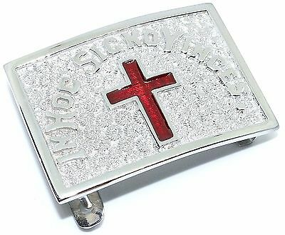 Masonic In Hoc Signo Vinces Knights Templar Belt Buckle Silver