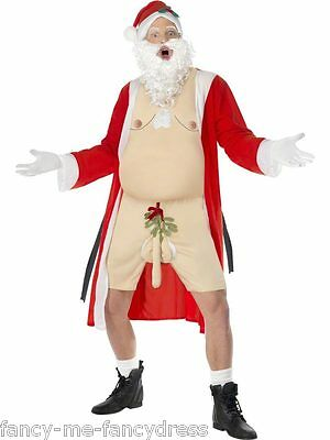 Mens Sleazy Santa Christmas Flasher Rude Xmas Fancy Dress Costume Outfit