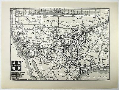 Original 1941 Santa Fe Railroad System Map by Poole Brothers
