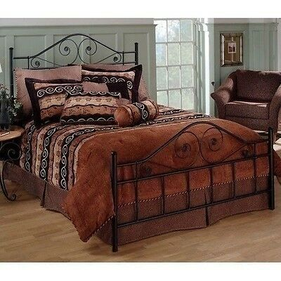 new full queen king size metal foundation bed frame headboard footboard black
