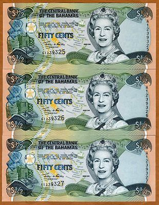 Set Bahamas, 3 x 1/2 dollar (50 cents) 2001, P-68, QEII, UNC > Consecutive Trio