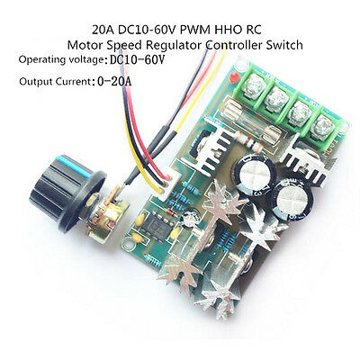 10-60V 20A 1200W Max DC Motor Speed Controller Switch PWM HHO RC L3