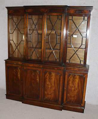 Large 4 Door Mahogany Breakfront Bookcase with Glazed Top Display / Cupboards
