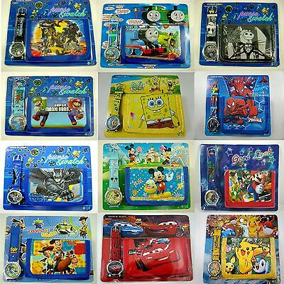 Kids Childrens Boys Girls cartoon character Watch And Wallet Coin Purse + Charm