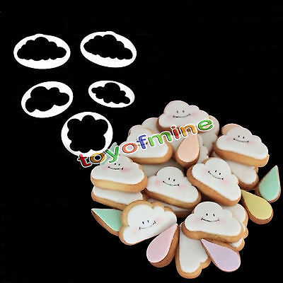 5pcs Cloud Shape Fondant Sugars Cake Cutter Plunger Pastry Cookie Mold Craft