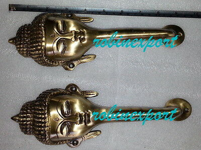 antique look brass bhudha door handel 2 pes