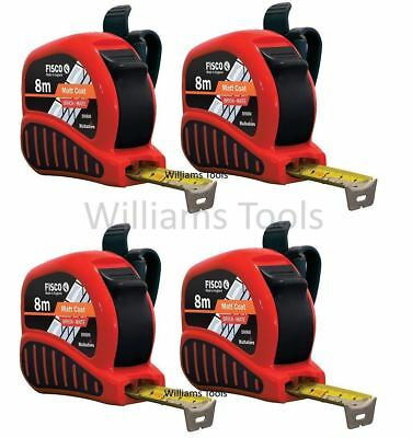 4 x Fisco BrickMate Tape Measure 8m Brick Block Courses 25mm Blade Metric Build