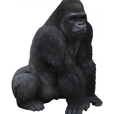 Black Gorilla Garden Ornament Statue Patio Decoration Indoor Outdoor Animal