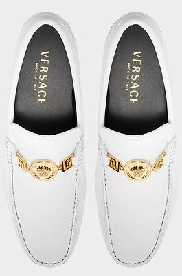 Versace Medusa White Leather Driving Shoes Loafers Uk 6, 7, 9.5, 11