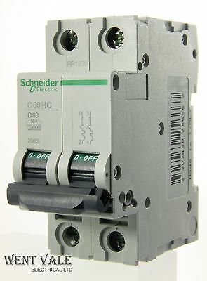 Schneider Multi 9 - C60HC263 - 63a Type C Double Pole MCB New