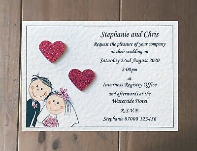 50 Handmade Personalised Wedding Invitations Day / Evening - Free Sample Proof!