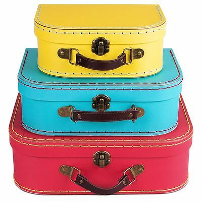 3 Brights Vintage Retro Storage Suitcases Boxes Trunks Set Bright Bedroom Cases