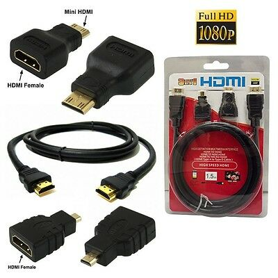3 In 1 Cavo Hdmi Full Hd 1080P 1.5 M + Adattatori Mini Hdmi E Micro Hdmi Dorati