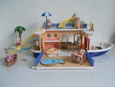Sylvanian Families, Sea Cruiser House Boat Plus 8 Figures  No Boxes