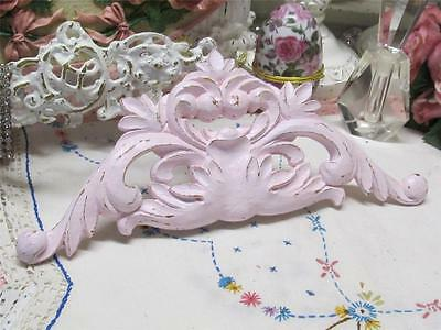 "LIGHT PINK ORNATE PEDIMENT~RESIN~11.25"" WIDE~SHABBY PATINA~Cottage~Chic~Country"